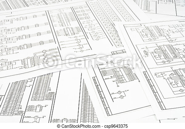 Background of several electrical circuits printed on paper - csp9643375