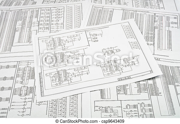 Background of several electrical circuits printed on paper - csp9643409
