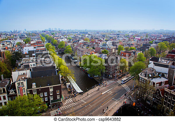 Amsterdam panorama, Holland, Netherlands - csp9643882