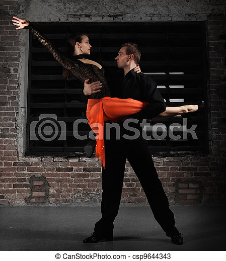 Tango dancers in action - csp9644343