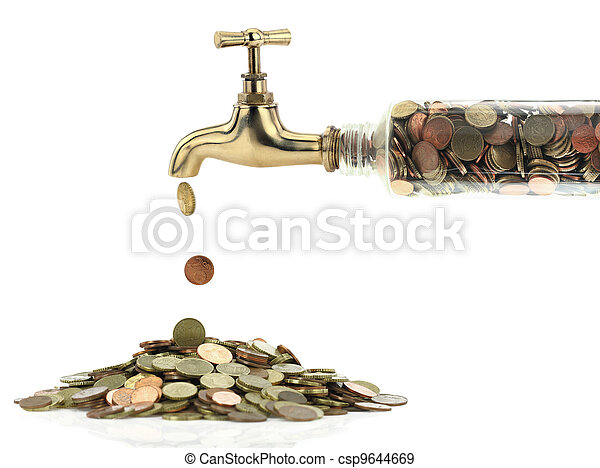 Money coins fall out of the golden tap - csp9644669
