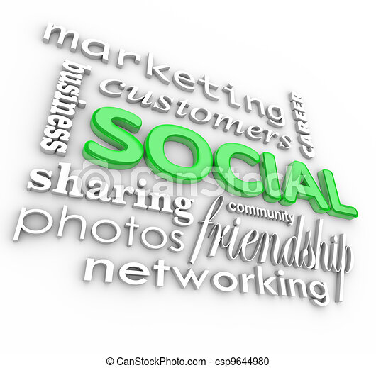 Social 3d Words Background Community Business Marketing - csp9644980