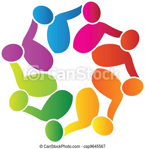 Teamwork support people logo vector - csp9645567