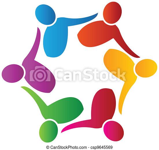 Teamwork social workers logo vector - csp9645569