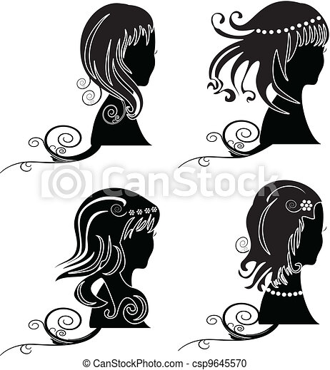 Set of women with beauty hair - csp9645570