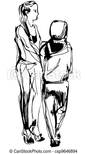 sketch two girls in pantaloons cost communicate - csp9646894