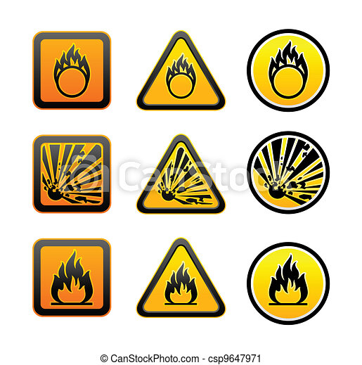 Hazard warning symbols set - csp9647971