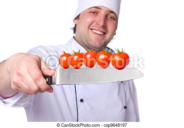 Men cook. cherry tomatoes cut into the knife - csp9648197