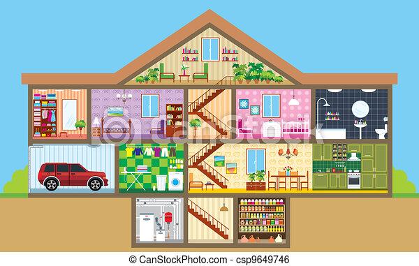 Clip art de vectores de casa corte vector ilustraci n for Interior auf deutsch