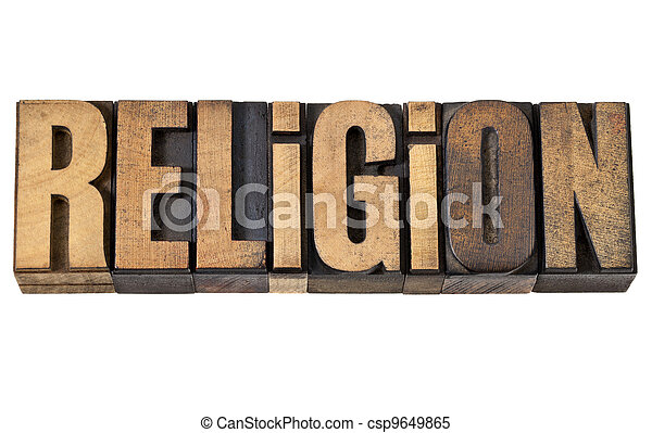 religion word in vintage wood type - csp9649865