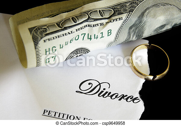 torn divorce decree and cash, with broken wedding ring - csp9649958