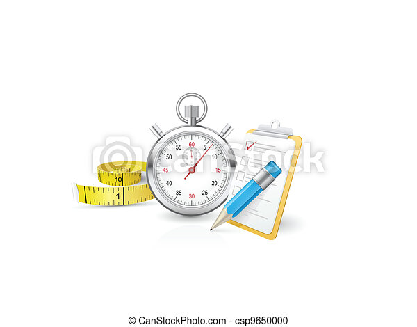 Stopwatch with clipboard and tape measure - csp9650000