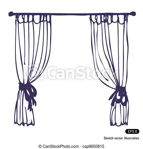 Clipart vectorial de cortinas mano dibujado cortinas - Dibujos para cortinas ...