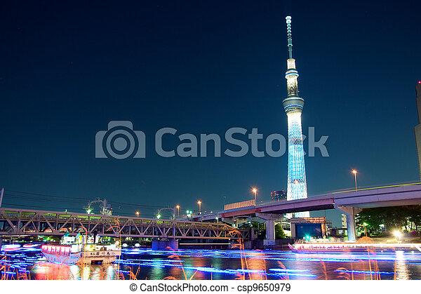 Tokyo skytree blue illumination - csp9650979