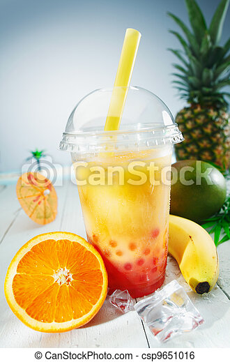 Healthy bubble tea tropical smoothie - csp9651016