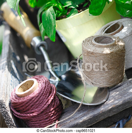Balls of twine for tying up plants - csp9651021
