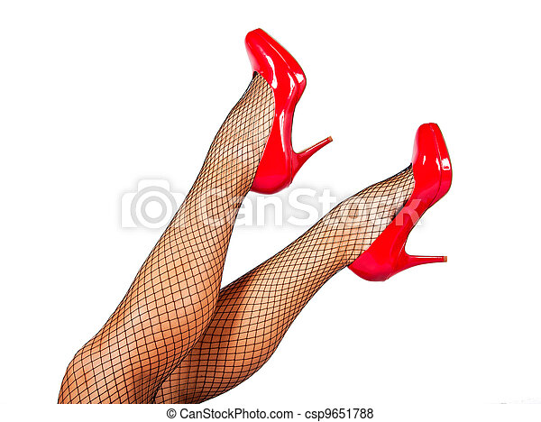 Red shoes and black stockings - csp9651788