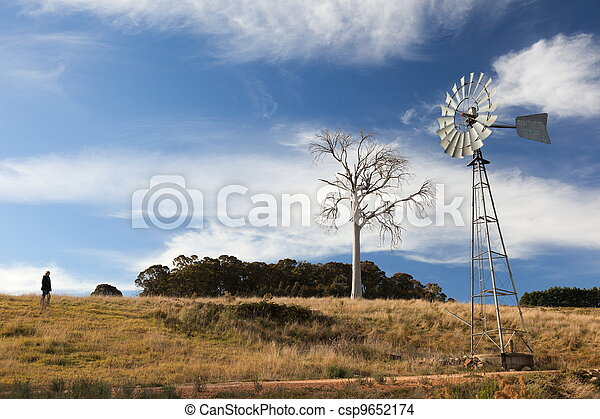 A rural landscape with windmill. Near Oberon. New South Wales. Australia. - csp9652174