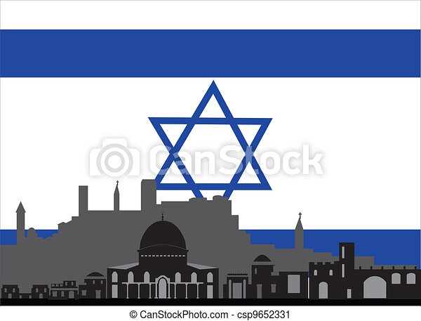 Vector Clip Art of israel and the flag with star of david ...