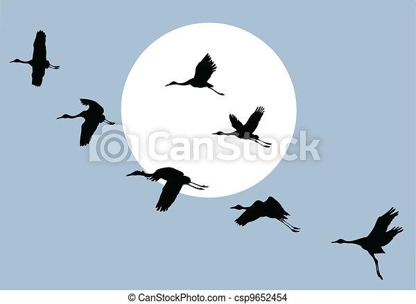 flying crane on solar background, vector illustration - csp9652454
