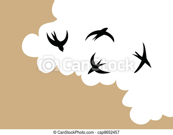 swallows in sky on cloudy background, vector illustration - csp9652457