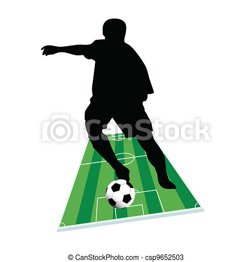 football player with the ball on the ground - csp9652503
