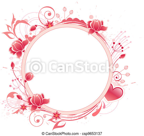 banner with red rose - csp9653137