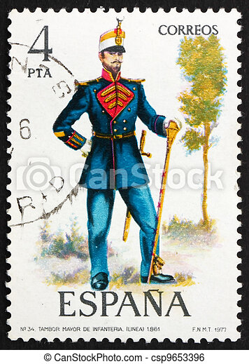 Postage stamp Spain 1977 Drum Major, 1861, Military Uniform - csp9653396