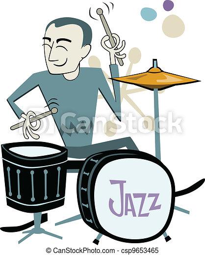 Retro Drummer Cartoon - csp9653465