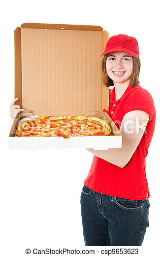 Teen Girl Delivering Pizza - csp9653623