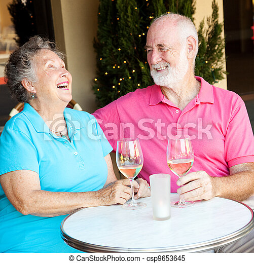 Senior Couple on Date - Laughing - csp9653645