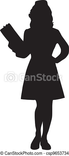 Female Nurse Silhouette - csp9653734
