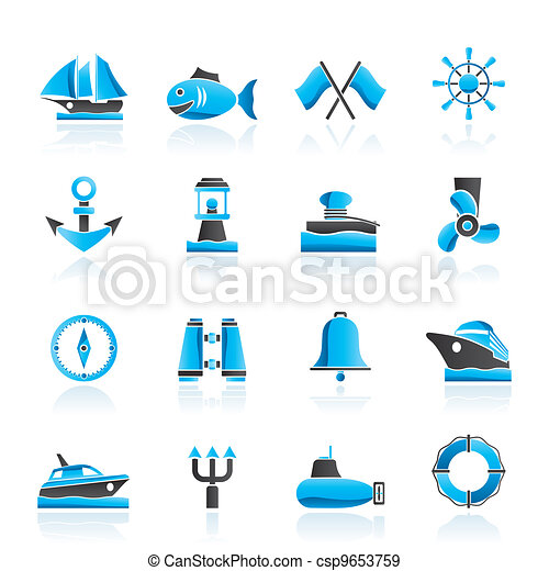 Marine, sea and nautical icons - csp9653759