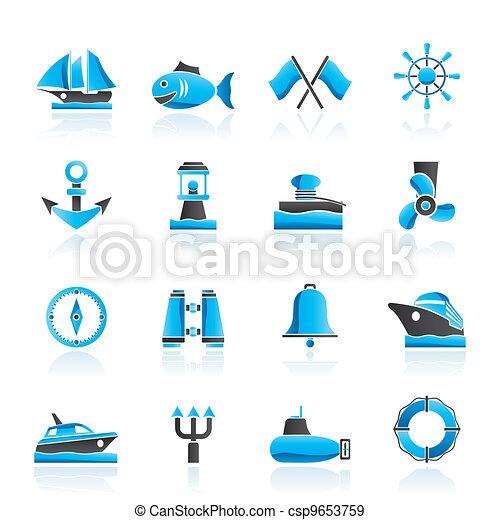 Marine, sea and nautical icons - csp9653759