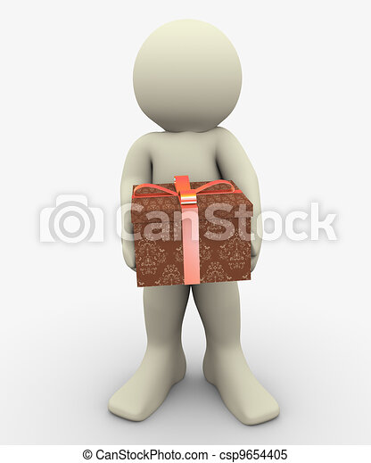 3d man with giftbox - csp9654405