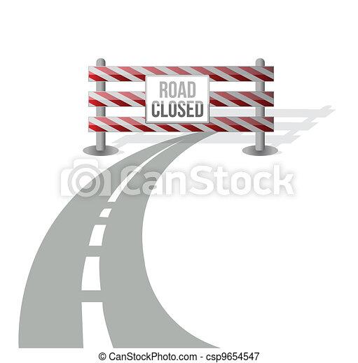 Closed road illustration design - csp9654547