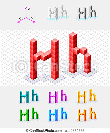 Isometric font from the cubes - csp9654556