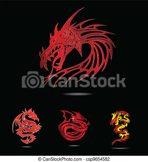 abstract and tradition religion red dragons - csp9654582