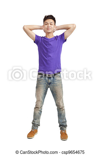 Full length of  stylish young man with purple t-shirt - csp9654675