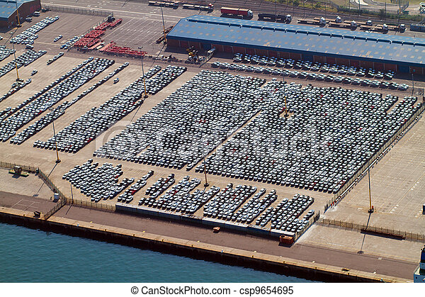 automobiles parked at harbour - csp9654695