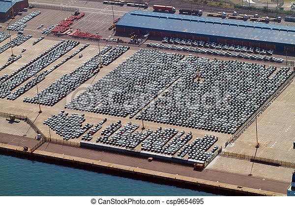 automobiles parked at harbour - csp9654695