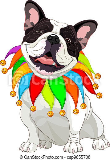 French bulldog wearing a colorful - csp9655708