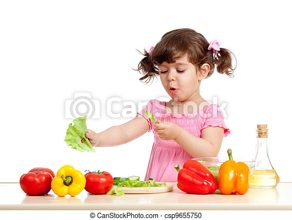 adorable kid girl preparing healthy food - csp9655750