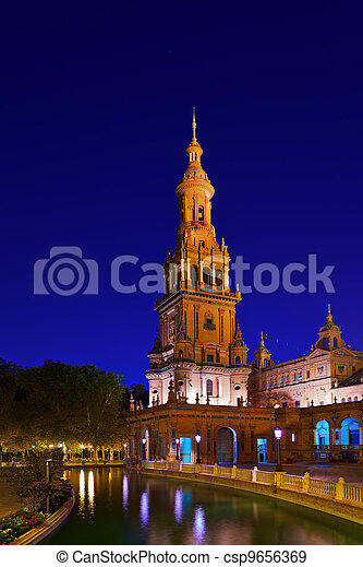 Palace at Spanish Square in Sevilla Spain - csp9656369