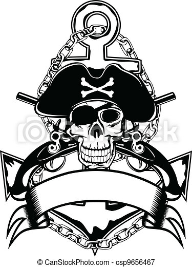 Anchor and skull - csp9656467