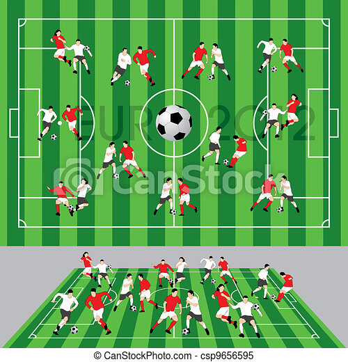 Football Field with Ball and Player - csp9656595