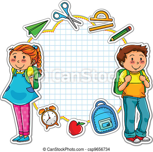 EPS Vector of school set - school kids and a set of school related ...