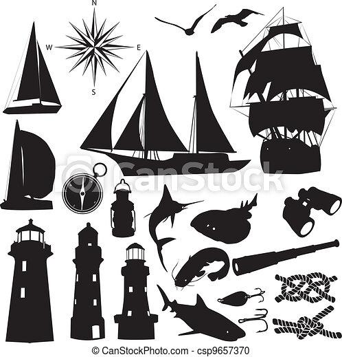 silhouettes of marine recreation - csp9657370