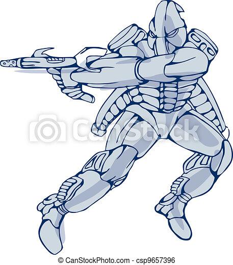 Mecha Robot Warrior With Ray Gun - csp9657396
