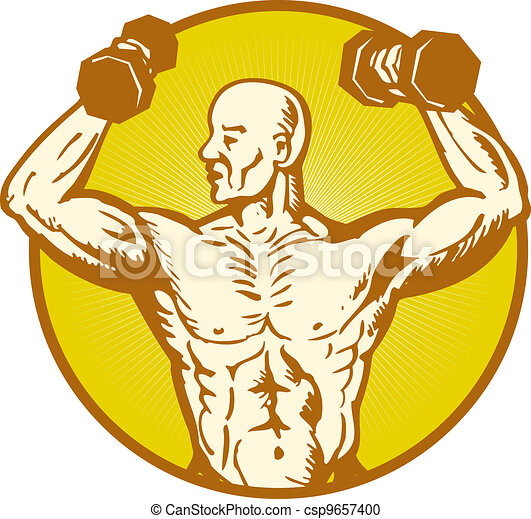 male human anatomy body builder flexing muscle - csp9657400